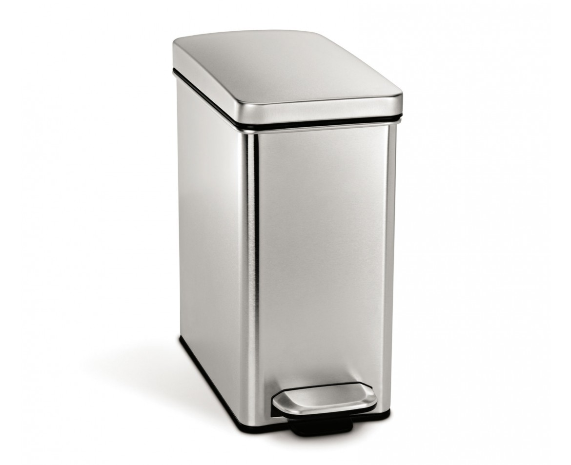 simplehuman 10 litre profile pedal bin brushed stainless steel