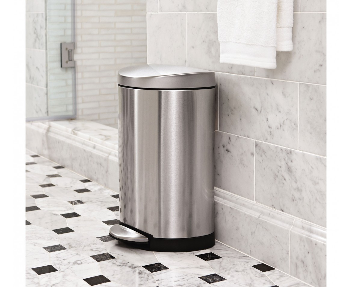 simplehuman 10 litre semiround pedal bin brushed stainless steel