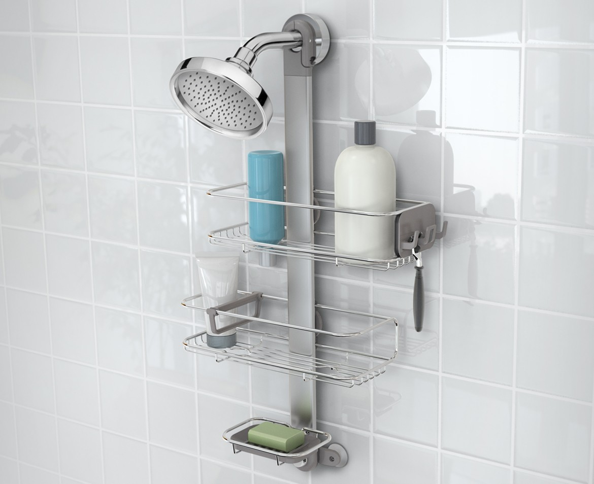 adjustable shower caddy stainless steel + anodized aluminium