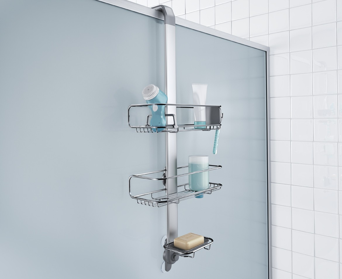 simplehuman | over door stainless steel shower caddy organiser
