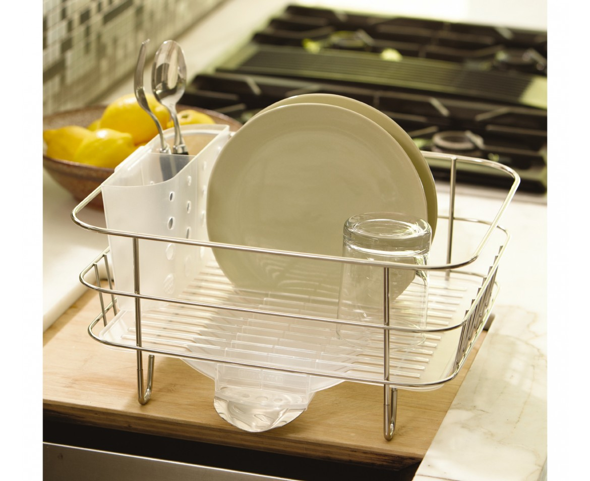 simplehuman | compact wire frame dishrack, stainless steel