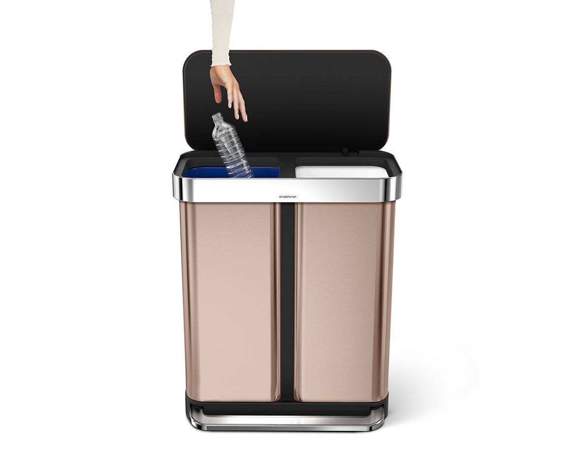 simplehuman | 58L rose gold stainless steel rectangular pedal bin
