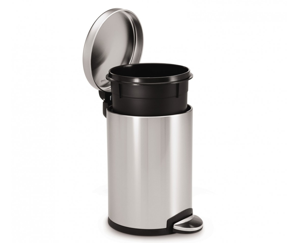 simplehuman | 4.5 litre, round pedal bin, fingerprint-proof brushed ...