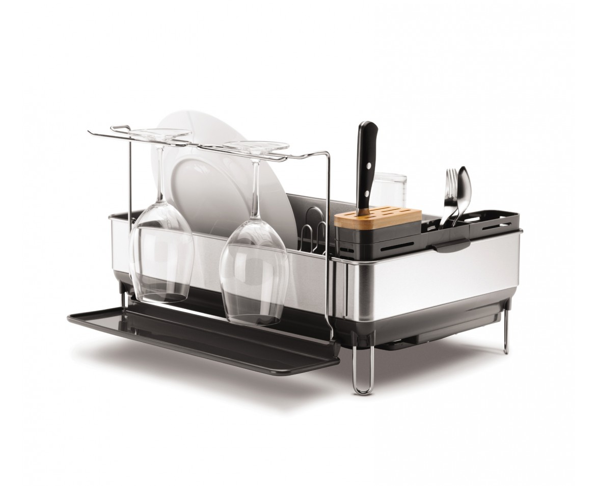 Simplehuman Steel Frame Dishrack With Wine Glass Holder