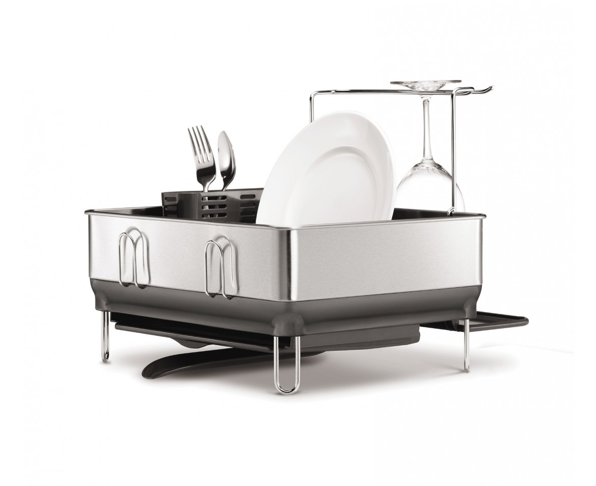 Simplehuman Compact Steel Frame Dishrack With Wine Glass Holder Fingerprint Proof Stainless Grey
