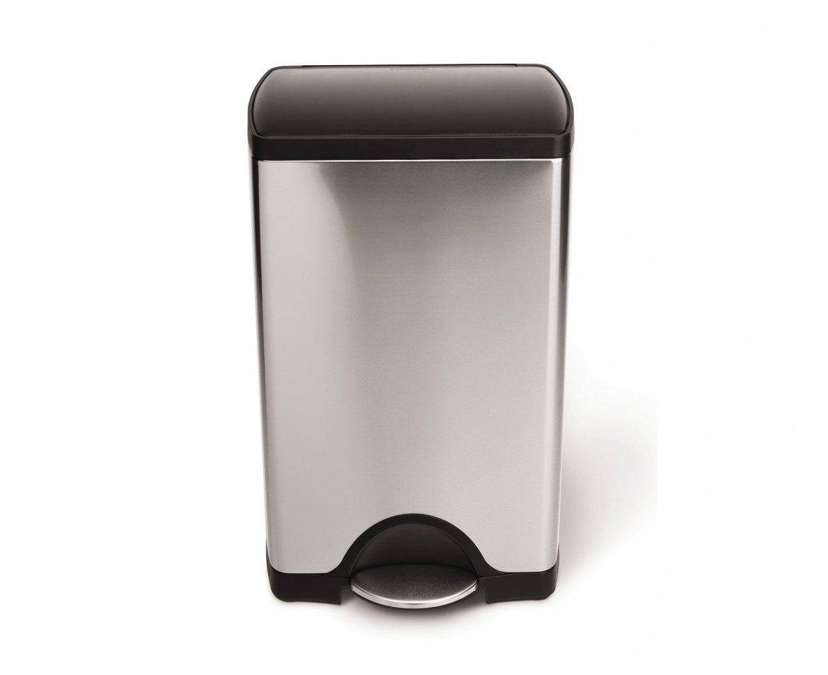 Beau Simplehuman | 38 Litre, Rectangular Pedal Bin, Brushed Stainless Steel    Plastic Lid