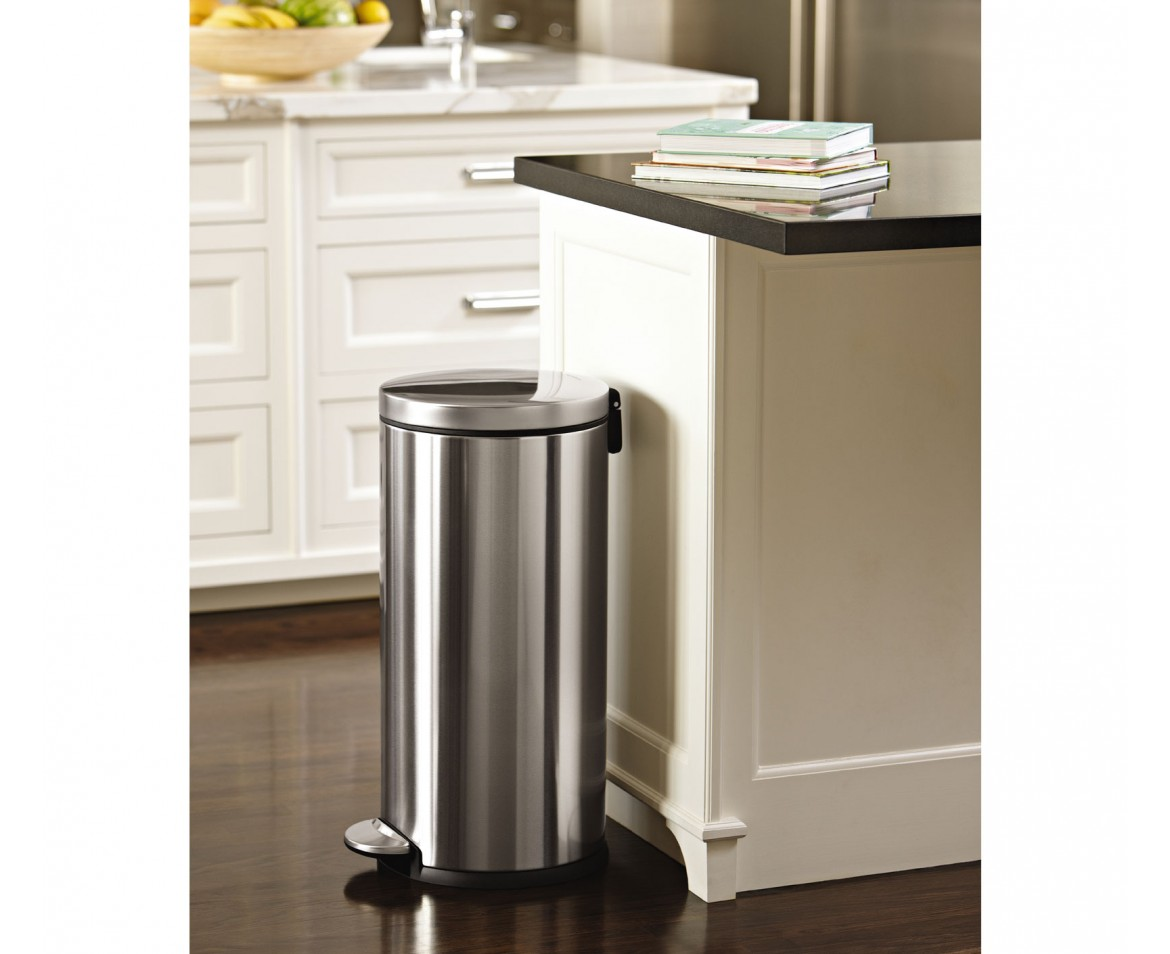 simplehuman 30 litre round pedal bin brushed stainless steel