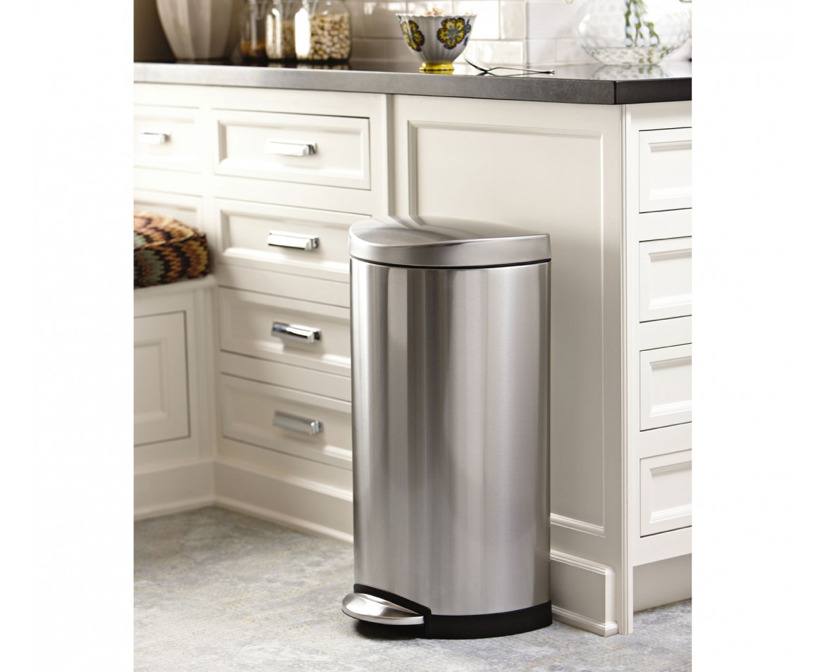Simplehuman | 30 Litre, Semi Round Pedal Bin, Fingerprint Proof Brushed  Stainless Steel
