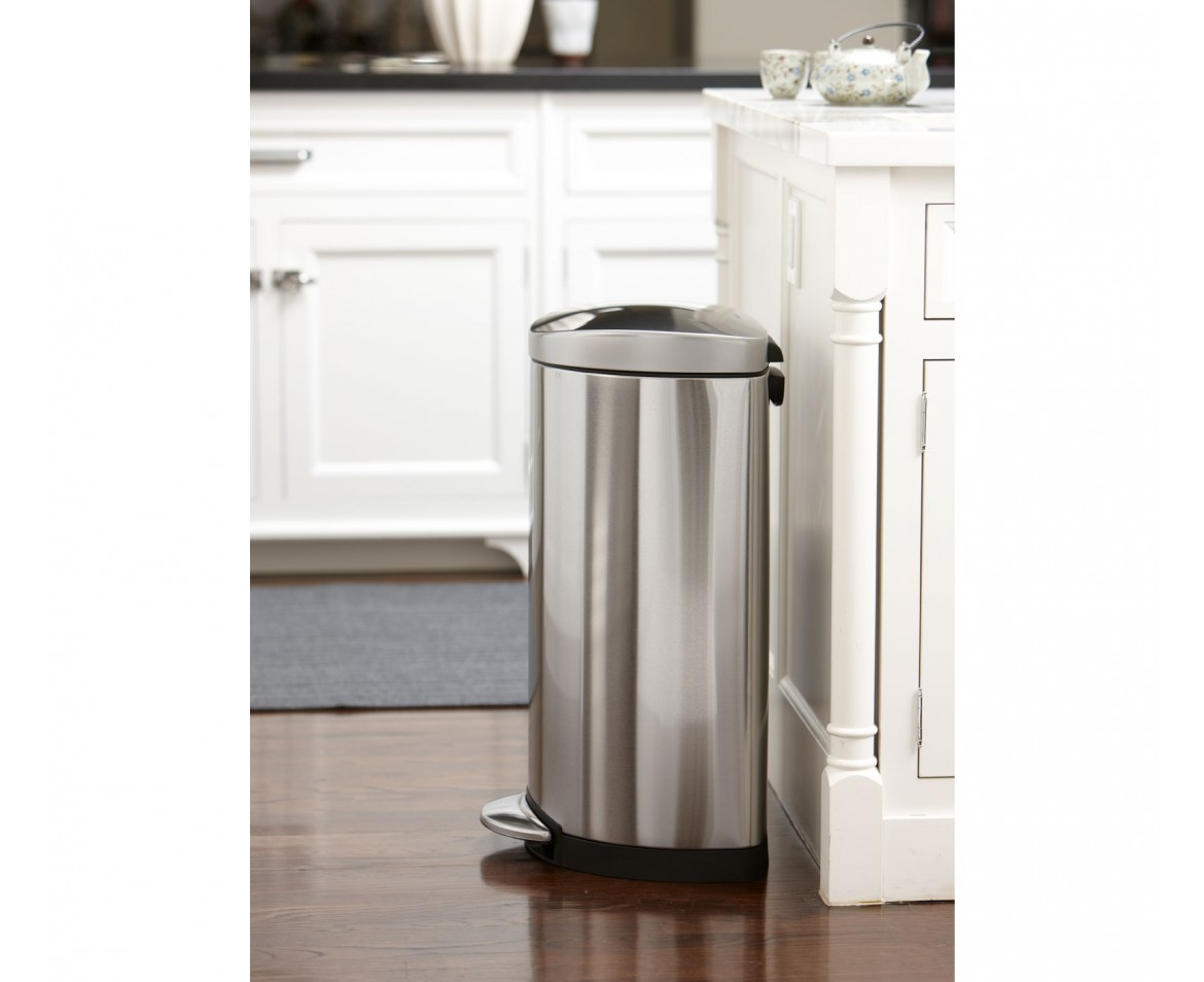 simplehuman 40 litre semiround pedal bin brushed stainless steel