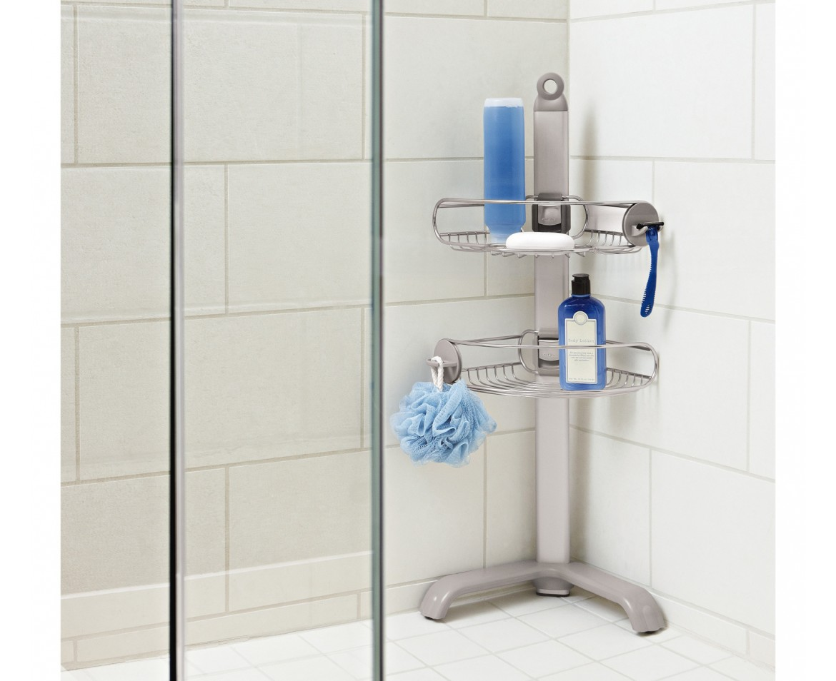 corner shower caddy stainless steel + anodized aluminium