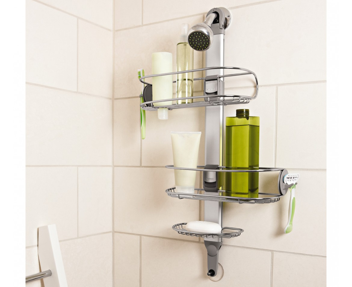simplehuman | adjustable shower caddy, stainless steel + anodized ...