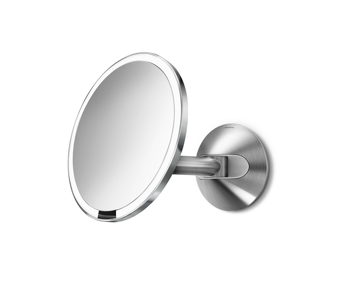 Wall Mounted Lighted Vanity Mirror simplehuman | 20cm wall mount sensor mirror, 5x magnification