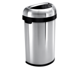 60 litre, semi-round open bin, brushed stainless steel