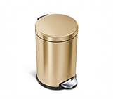4.5 litre, mini round pedal bin, brass steel