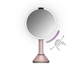 20cm sensor mirror with touch-control brightness, stainless steel, pink