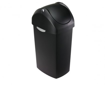 60 litre, swing lid can, black plastic