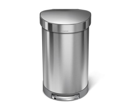 45 litre, semi-round pedal bin with liner rim, stainless steel