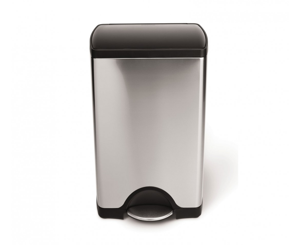 Simplehuman 38l Rectangular Stainless Steel Step Trash Can W