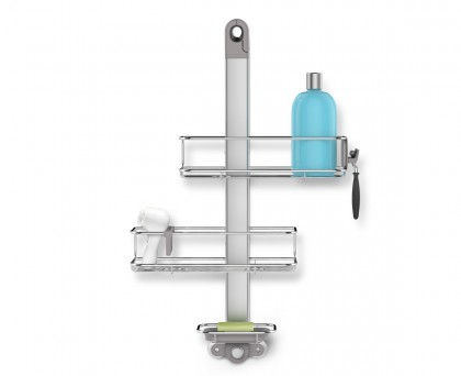 adjustable shower caddy, stainless steel + anodised aluminium