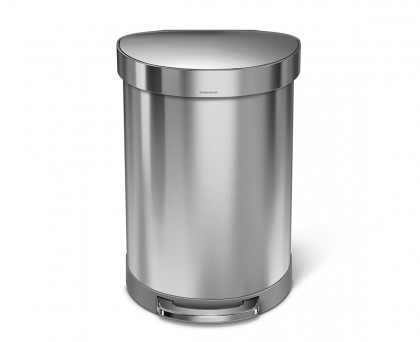 60 litre, semi-round pedal bin with liner rim, stainless steel