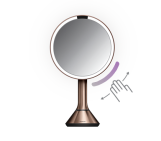 20cm sensor mirror with touch-control brightness, stainless steel, rose gold