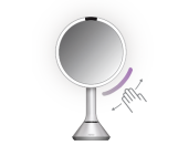 20cm sensor mirror with touch-control brightness, stainless steel, white