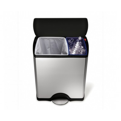 46 litre, rectangular recycler, stainless steel - plastic lid