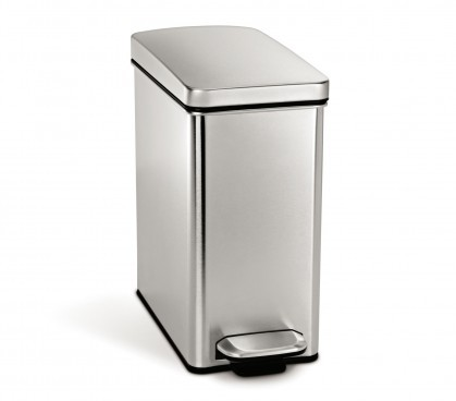 10 litre, profile step can, brushed stainless steel