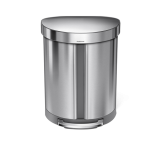 55 litre dual compartment semi-round pedal bin, brushed stainless steel