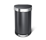 45 litre, semi-round pedal bin with liner rim, black stainless steel