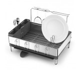 steel frame dishrack with wine glass holder, fingerprint-proof stainless steel | grey