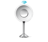 sensor mirror pro, 20cm round, brushed , 5x + 10x magnification, adjustable color temperature, wifi-enabled