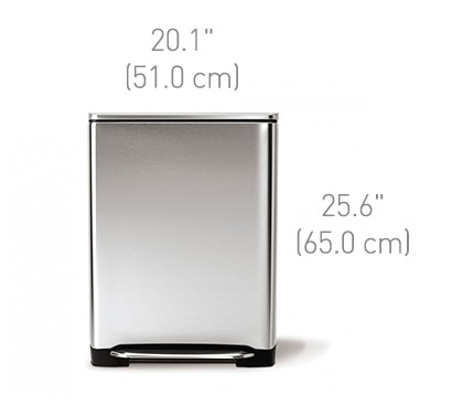 50 litre, wide-step rectangular can, fingerprint-proof brushed stainless steel