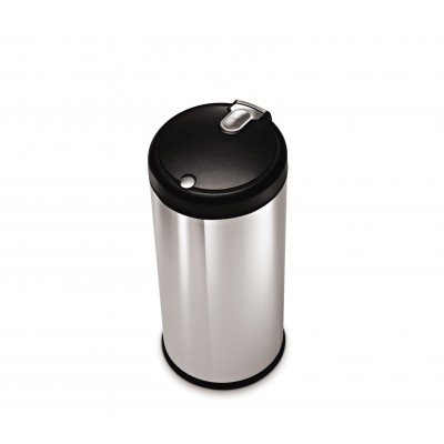 30 litre, round soft touch can, brushed stainless steel | plastic lid