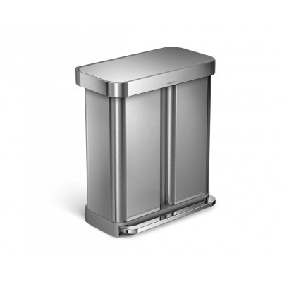 58 litre, rectangular dual compartment step can with liner pocket, stainless steel
