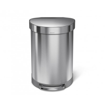 60 litre, semi-round step can with liner rim, stainless steel