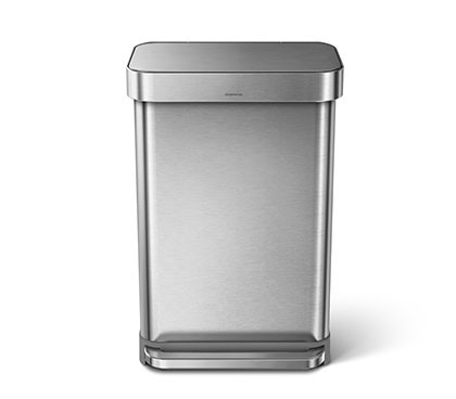 55 litre, rectangular step can with liner pocket, stainless steel