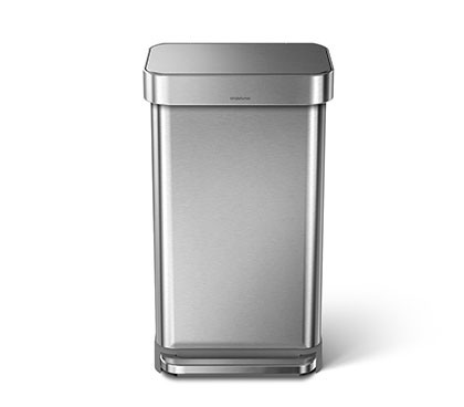 45 litre, rectangular step can with liner pocket, stainless steel