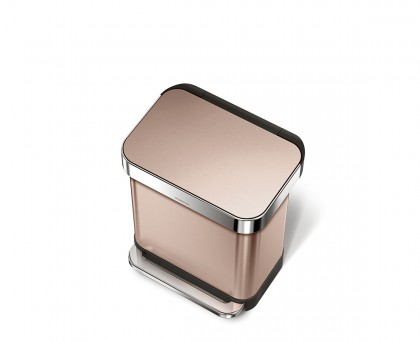 30 litre, rectangular pedal bin with liner pocket, rose gold steel