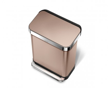 55 litre, rectangular step can with liner pocket, rose gold steel