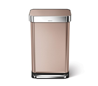 45 litre, rectangular step can with liner pocket, rose gold steel