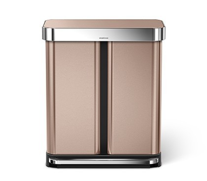 58 litre, rectangular dual compartment step can with liner pocket, rose gold steel